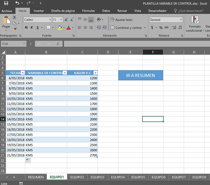 formato excel para registro de variables de control