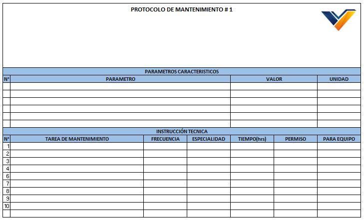 formato excel protocolos mantenimiento